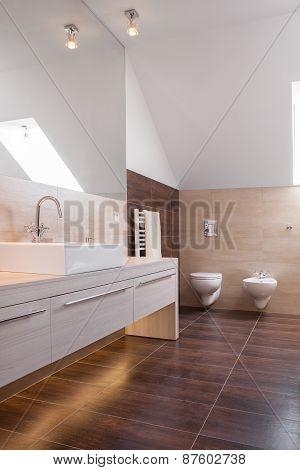 Wooden Parquet In Luxury Bathroom