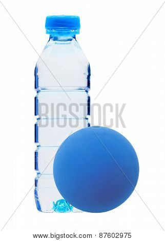 Blue Bottle With Water And Ball Isolated On White