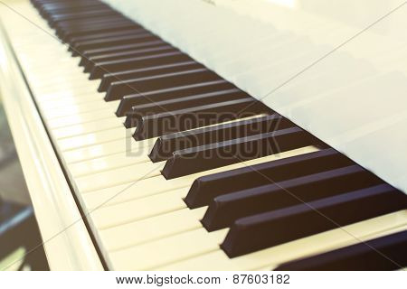 Piano Key And Soft Light