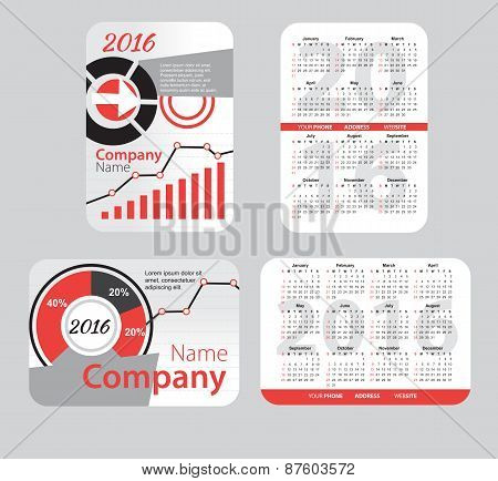 Set of red pocket calendar
