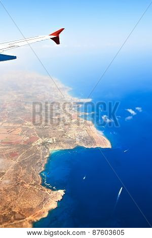 Beautiful view of island Cyprus from the plane