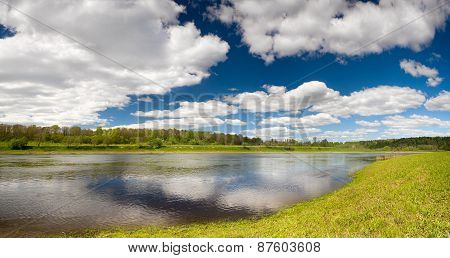 Beautiful spring landscape wallpaper with flood waters of Volga river