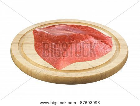 Raw Meat On Deck Isolated On White