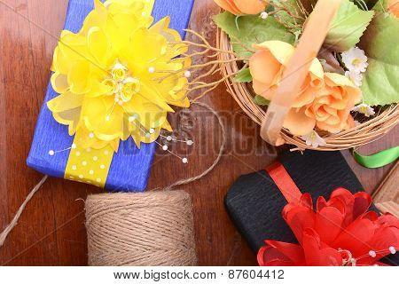 Gift Box, Flowers And Old Thread