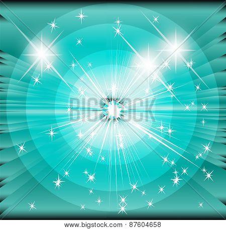 Star sunbeam blue background