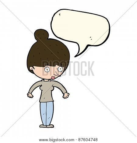 cartoon woman staring with speech bubble