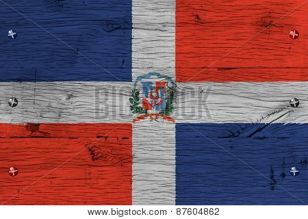 Dominican Republic National Flag Coat Arms Painted Old Oak Wood Fastened