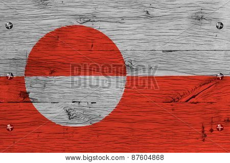 Greenland National Flag Painted Old Oak Wood Fastened