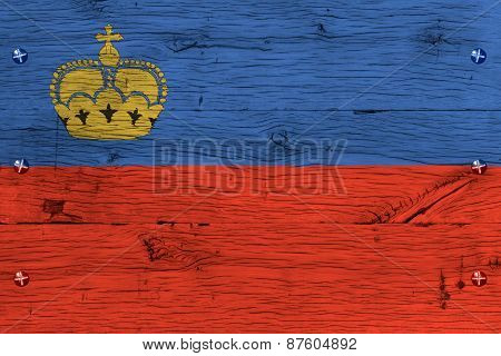 Liechtenstein National Flag Painted Old Oak Wood Fastened