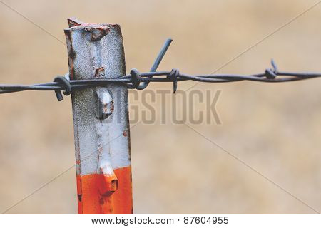 Orange Barb Wire Fence