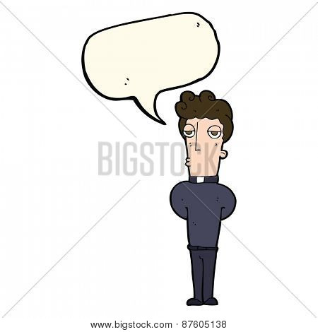 cartoon priest with speech bubble