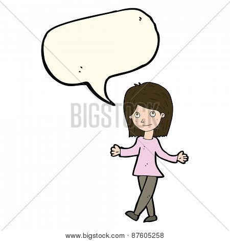 cartoon woman with no worries with speech bubble
