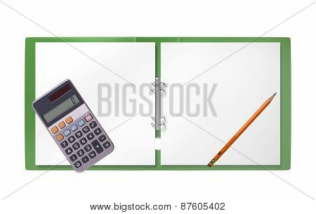 Green Folder, Calculator And Pencil Isolated On White