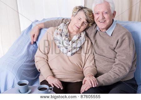 Senior Man And Sleeping Wife