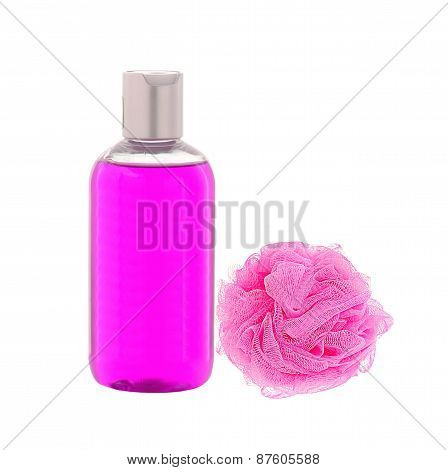 Shower Gel And Wisp Of Bast Isolated On White