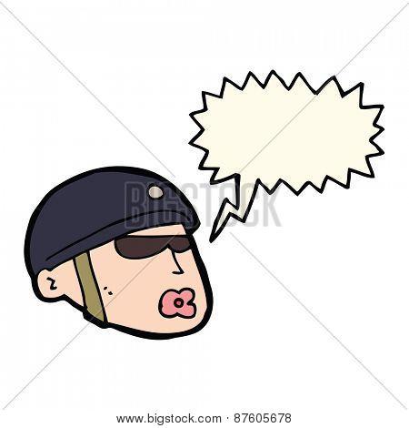 cartoon policeman head with speech bubble