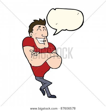 cartoon muscle guy with speech bubble
