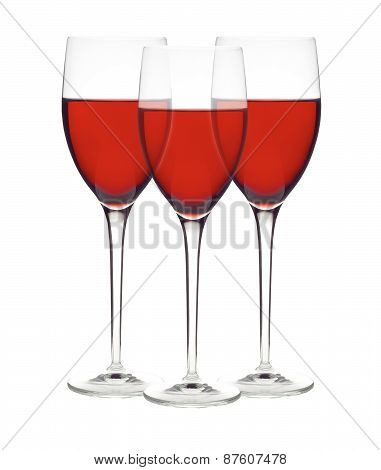 Classic Glasses Of Red Wine Isolated On A White Background