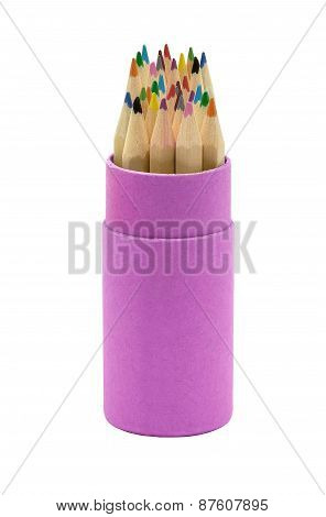 Pink Cup With Colorful Pencils Isolated On White