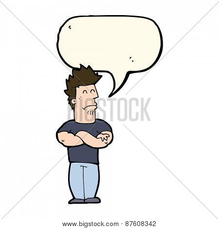 cartoon sulking man with speech bubble