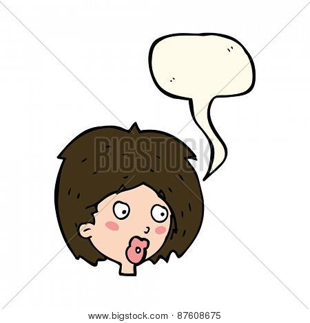 cartoon woman looking with speech bubble