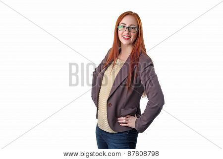 Successful Young Redhead Business Woman With Glass