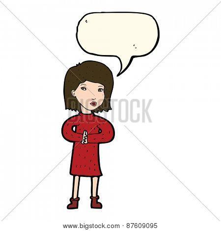 cartoon calm woman with speech bubble