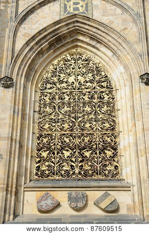 Window Of St. Vitus Cathedral In Prague, Czech Republic.