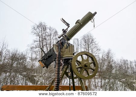 Maxim Machine Gun Aboard A Military Machine