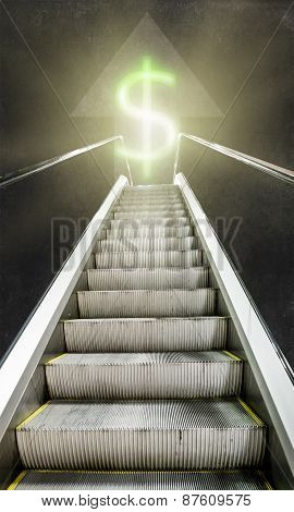 The Escalator Up Towards Luminous Sign Of The Dollar