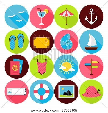 Flat Summer Icons Set