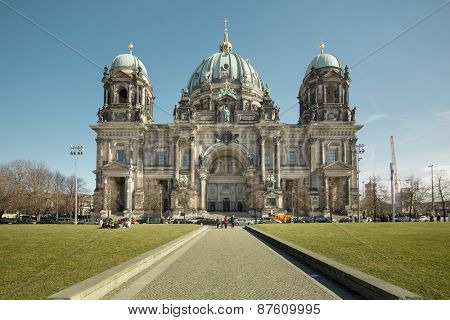 BERLIN - MARCH 8: Berlin cathedral on March 8, 2015 in Berlin. The Cathedral of Berlin is the largest church in the city.