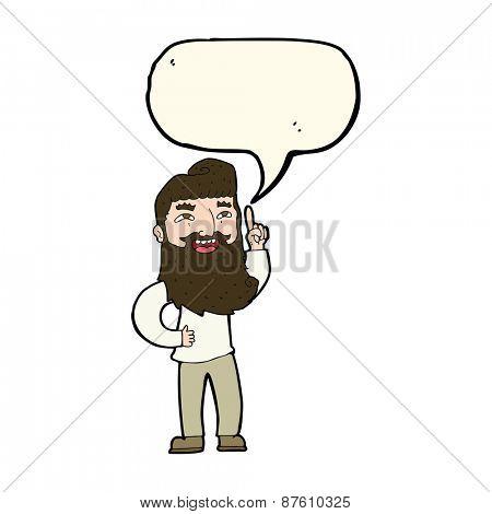 cartoon happy bearded man with idea with speech bubble