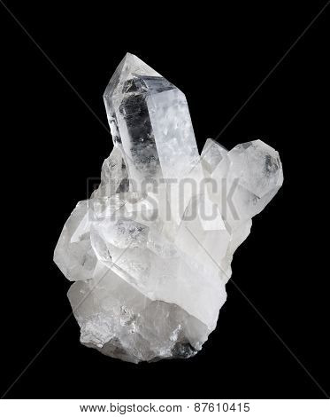 Quartz Crystal Cluster High Size on Black Background