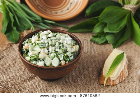 Ramson salad in rustic style with eggs and sandwich