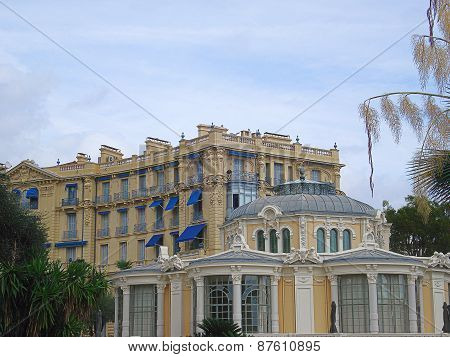 Beaulieu-sur-Mer, France - August 27, 2014: hotel Bristol and Rotonde its additional drawing room