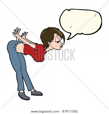 cartoon sexy woman with speech bubble