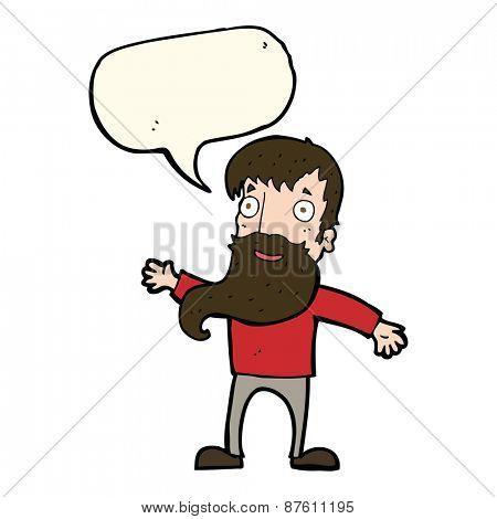 cartoon man with beard waving with speech bubble