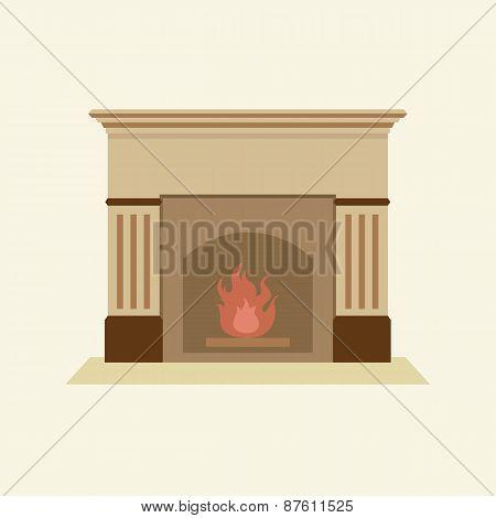 Modern Flat Design Fireplace.