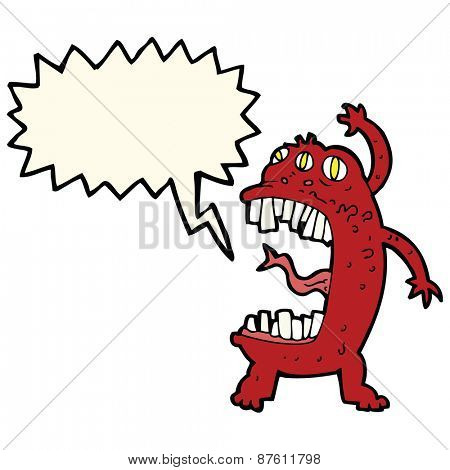 cartoon crazy monster with speech bubble