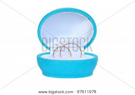 Wedding Rings In Blue Gift Box Isolated On White