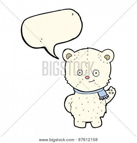 cute cartoon polar bear waving with speech bubble
