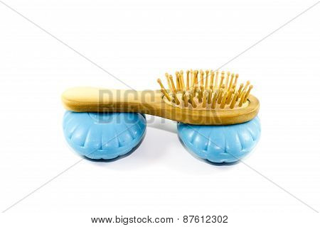 Blue Soap with Wooden hairbrush