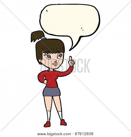cartoon attractive girl with idea with speech bubble