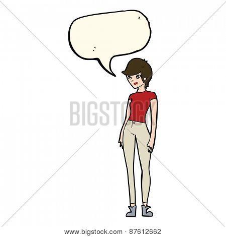 cartoon modern attractive woman with speech bubble