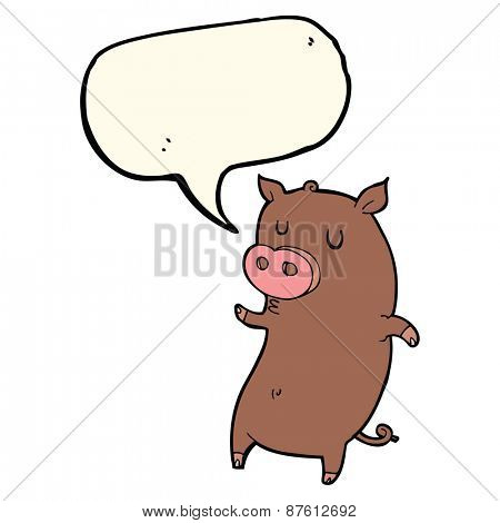 funny cartoon pig with speech bubble