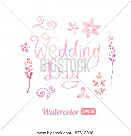 Set of watercolor floral elements