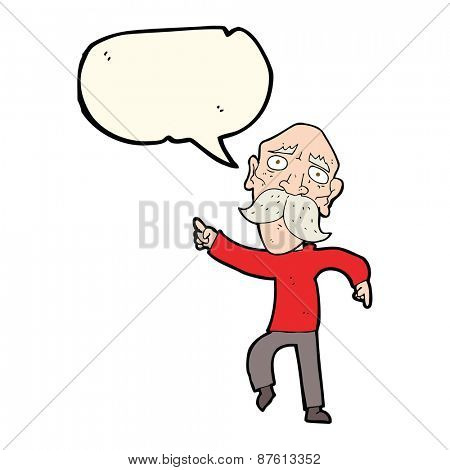 cartoon sad old man pointing with speech bubble