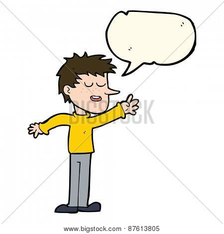 cartoon happy man reaching with speech bubble