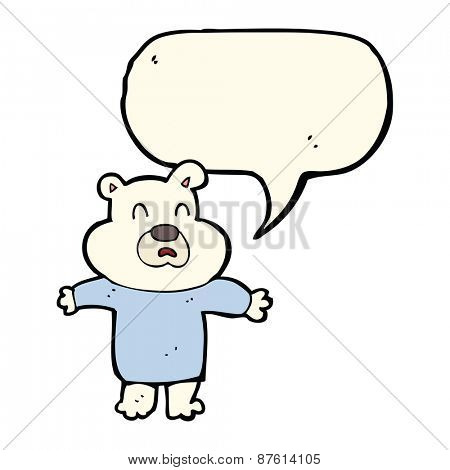 cartoon unhappy polar bear  with speech bubble